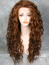 Curly Wavy Brown  wig Auburn Blonde mix HEAT SAFE Lace Front wig NBH 4/27/30
