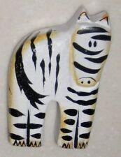 "Whimsical Black White 3 1/2"" Carved Wood Wild Zebra"