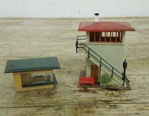 2 x Vintage HO Gauge FALLER Plastic Model Railway Buildings Signal Box & Kiosk