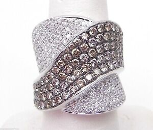 Ladies 18k White Gold 3 Cts White & Champagne Diamonds Wide By-Pass Band Ring