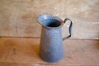 Vintage French Jug Enamelware Speckled Pitcher Coffee Pot Graniteware Blue Vase
