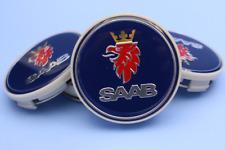 4x63mm SAAB Blue Wheel Center Caps Logo Emblem Badge Hub Caps Rim Caps