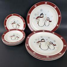 8 Royal Seasons Snowmen Plates Snowflake Trim 4 Dinner & 4 Dessert Stoneware