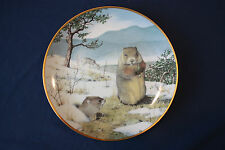 """Franklin Porcelain The Woodland Year """"Woodchucks In The February Thaw"""" Plate"""