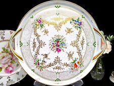 Dresden Germany German stunning painted floral rose gold gilt tea tray handles