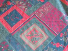 Silky knit fabric material sewing chic pink & blue patchwork print floral fabric
