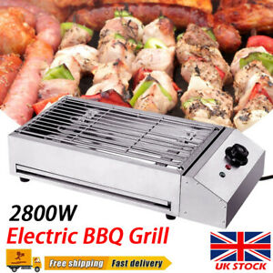 Commercial Electric Barbecue Grill BBQ Griddle Kitchen Stainless Steel 2800W UK