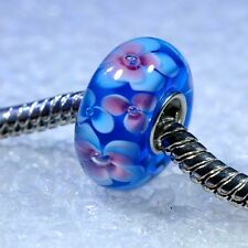 """SINGLE CORE EUROPEAN STYLE GLASS BEADS-""""Turquoise Flowers"""""""