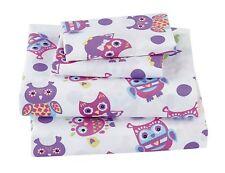 Fancy Linen 3pc Twin Size Sheet Set Teens/Girls Owl White Purple Pink New