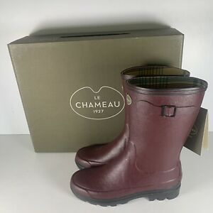 Le Chameau Giverny Bottillon F Cherry Womens Jersey Lined Low Boots Size UK 7