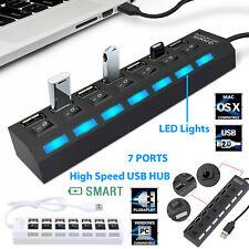 Powerful USB 7-Port HUB Hi-Speed Data Transfer 2.0 Splitter For Various Devices