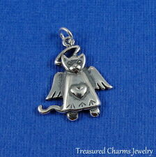 .925 Sterling Silver CAT ANGEL CHARM Good Kitty MEMORIAL Rainbow Bridge PENDANT