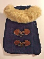 Navy Blue Dog Vest Fur Collar (Faux) Brown Clasp Buttons Pet X-Small XS