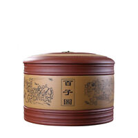 brand quality Chinese real yixing zisha canister handmade carved sealed for Puer