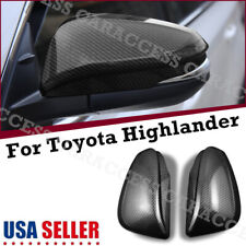 2x Carbon Fiber Rear View Side Mirror Cover Trim For Toyota Highlander 2014-2019