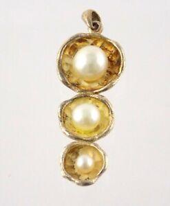 Gold Wash Sterling Silver Triple Pearl Pendant 925 Ridged Design 5.3g