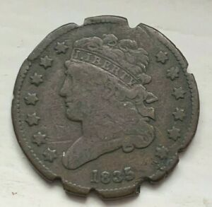 US 1835 Half Cent 1/2 Circulated Coin (#D75) Notched