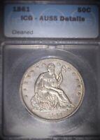 1861 Half Dollar,  ICG - AU55,  Great Example, Civil War Era,