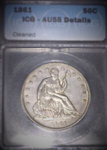 1861 Half Dollar,   ICG - AU55,  Great Example, Civil War Era,