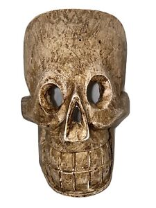 hand carved & sculpted wood SKULL mask pirate tiki skeleton bar man cave decor