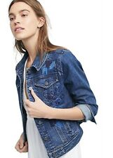 Anthropologie Denim Jacket Pilcro Blue Embroidered Beaded Floral Stretch M NEW