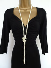 Long rope necklace Glass pearls look and feel genuine Bridal Prom Wedding