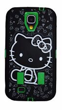 Hello Kitty 2 layer Built in Screen Protector Case For Samsung Galaxy S4 green