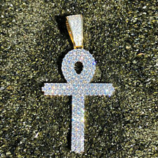 Real 10k White Gold 3 Ct Round Diamond Ankh Cross Pendant Sale For Men's Women's
