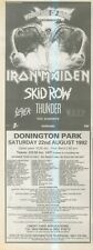 """(ANEW2) ADVERT 15X5"""" 1992 MONSTERS OF ROCK CONCERT, IRON MAIDEN, SKID ROW"""
