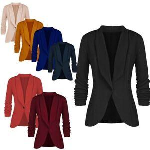 Women Casual Lapel Blazer Suit Jacket Coat Long Pleated Sleeve Slim Outwear Top