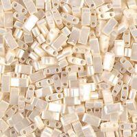 Miyuki Half Tila Beads 2-Hole Rectangle 2.3 x 5mm 7.8GM Ant Ivory Pearl MBHT-592