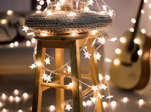 6M 40LED Warm white Star Lights Battery Fairy string Indoor Xmas Party Decor
