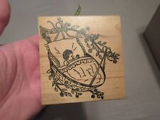 BABY BASKET WOOD MOUNTED RUBBER STAMP SCRAPBOOK ME & CARRIE LOU GREAT SHAPE