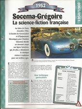 VOITURE SOCEMA-GRÉGOIRE FICHE TECHNIQUE AUTOMOBILE 1952 COLLECTION AUTO