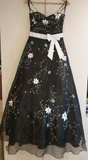 Nientie Black Ball Gown/Prom UK 6, White Sash,Cascading Ruffles Organza lining