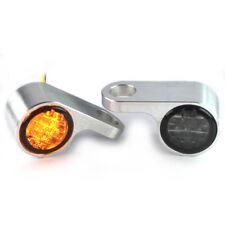 IOMP LED Blinker + Blinkerhalter Lenkerarmaturen Chopper universal Silber Typ 4