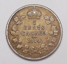 1910 POINTED LEAF Five Cents Silver AU-UNC ** Golden BEAUTY Edward VII Canada 5¢
