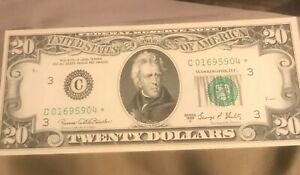1969-C   STAR $20 Federal reserve note , Philadelphia district ,  AU / UNC