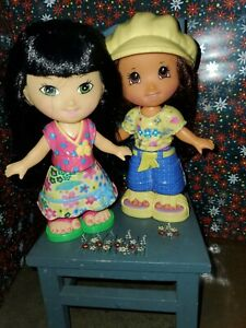 Fisher Price Snap n Style 2 dolls, clothes, hats, shoes,  brush