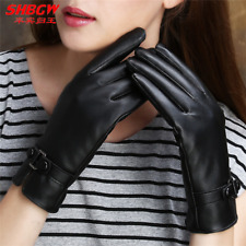 Women's Leather Gloves Touch Screen Thermal Thinsulate Lined Driving Warm Gloves