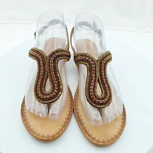 Naughty Monkey Size 8 Alloy Mate Amber Bronze Rhinestone T-Strap Leather Sandals