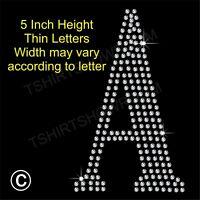 "5"" high Letter A to Z Rhinestone/Diamanté Transfer Hotfix Iron on Motif Alphabet"