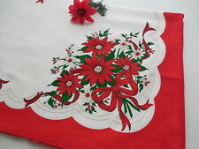 Vintage Red Christmas Poinsettia Tablecloth 60 x 86