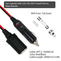 12V-24V Car Cigarette-Lighter Plug Extension Cable Cord Socket Cable Adapter 10A