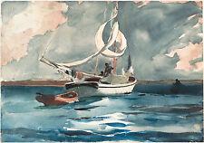 Winslow Homer Watercolor Reproductions: Sloop, Nassau: Fine Art Print