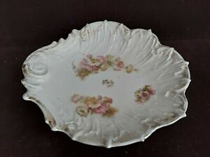 """Beautiful Vintage Delicate Pink White Flowers Embossed Bowl Gold Trim 10"""" W"""