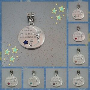 ❤I love you to the moon & back❤Rhinestone Decal❤8 Colours ❤FOR CHARM BRACELETS❤