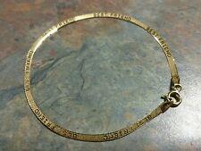 "14K Solid Yellow Gold Herringbone Chain ""Best Friends"" Bracelet 7"" Italy 585 1.3"