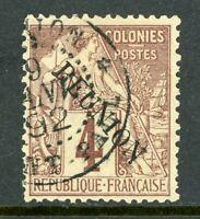 French Colony 1891 Reunion 4¢ Overprint No Accent SG # 19A VFU R879
