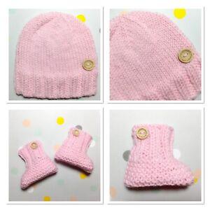 Hand Knit Newborn 0000 Baby Girl Pink Beanie Hat Booties Set, Aus Merino Wool
